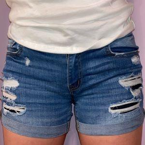 mid rise destroyed denim shorts